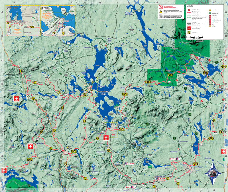 Moosehead Lake Area Snowmobile Map